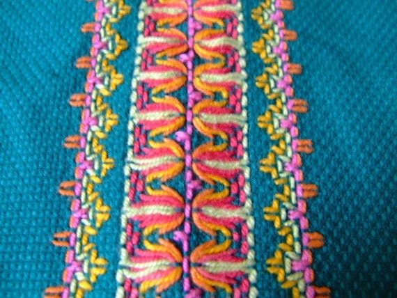 Vintage Mexican Style Bright Embroidered Table Runner