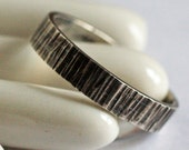 Bark Slice Textured Sterling Silver Ring Handmade Unisex Woodland Jewelry