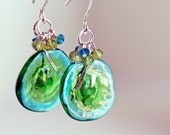 Watercolor Wafer Earrings Lamp work Glass and gemstone sterling silver handmade jewelry