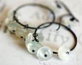 Moonstone Oxidized Sterling Silver Hoop Dangle Earrings Handmade Designer Jewelry