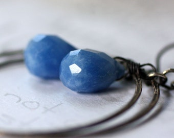 Denim Blue Sterling Silver Handmade Hoop Earrings boho Artisan Jewelry