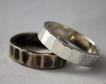 Heavy Hand Forged Sterling Silver Ring,  Unisex Rustic Metalwork Silver Wedding Band, His or Her Heavy Silver Band Ring