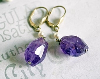 Chunky Amethyst Gemstone Earrings, Sterling Silver February Birthstone Jewelry, Deep Purple Amethyst Drop Earrings
