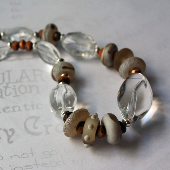 Crystal, Lamp Work Glass and Tiger Eye Necklace - Crystal Sands