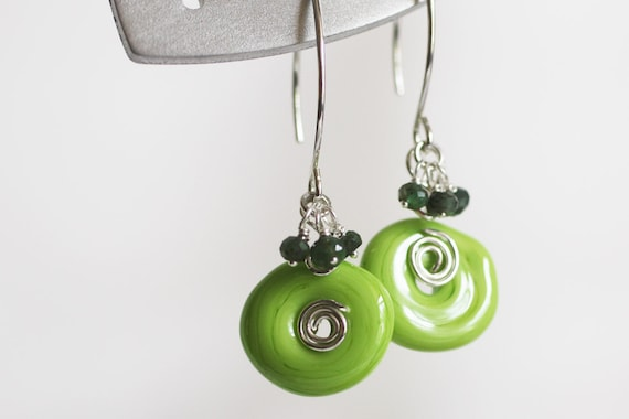 Limeade Lamp Work Glass Earrings