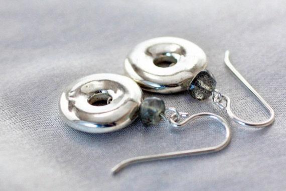 Sterling Silver Donut Earrings with Labradorite handmade designer jewelry