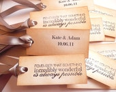 200 Wedding Favor Tags Personalised - Vintage Style with Quote,  Bride and Groom names and Wedding Date - Custom Listing Only