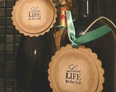 Live Life to the Full Quote Tags Scallop- Vintage Inspired - gifts, wedding favors, bachelorette, inspirational - Choice of Ribbon