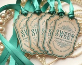 Candy Labels, Sweet Confections, Vintage Inspired Teal Ribbon, Buffet Table Decoration, Wedding Favor Tags, Gift Tags, SET of 5 - CODE S2