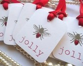 BEE JOLLY Tags, Bee Gift Tags, Wedding Favor Tags, Positive Thoughts, Red Wedding Favors, Christmas Gift Tag, Wedding Favours