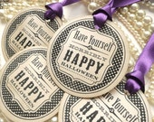 Halloween Tags - Set of 4 - Round Purple Vintage Style Happy Horrible Halloween - Double Sided Satin Ribbon