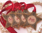 Christmas Star Gift Tags - Pure Luxury in a Vintage Style Tag - Set of 4 - Bright Red Ribbon Holiday Labels