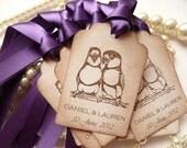 Wedding Favor Tags Birds Custom - Vintage Style Set of 25 - Bride and Groom Names