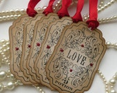 Love Potion Tags - Love Potion 9 Gift Tags - Vintage Inspired - Red, favor tags, gift tags, SET OF 5