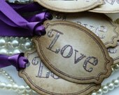 Purple Wedding Favor Tags  - Vintage Style - Set of 50 Labels - Custom tags an option - Your choice of Ribbon Color