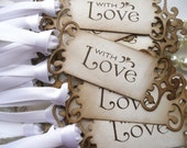 Wedding Favor Tags With Love - Set of 75 Vintage Look - Choice of Ribbon Colors - Ideal Wedding Favors, Anniversary, Party Favors