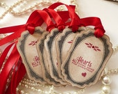 Red Christmas Large Vintage Style Tags - Set of 6  - All Hearts Come Home for Christmas with Bright Red Ribbon