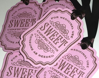 Sweet Tags - Vintage Inspired - Pink and Brown confectionery labels, favor tags, gift tags, albums, scrapbooking SET of 5 CODE S7