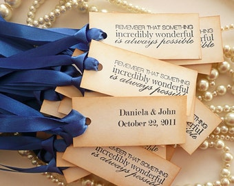 Something Blue Wedding Favor Decoration Tags - Vintage Style with Quote,  Bride and Groom names, Your choice of wording