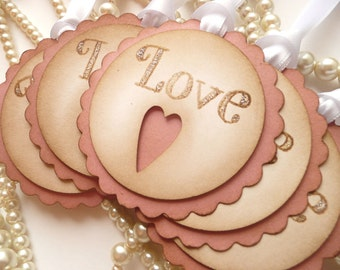 Pink and White Vintage Scallop Tags - Love, Heart and Glitter Tags - Set of 5
