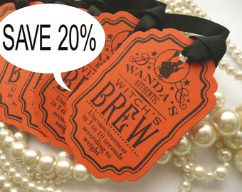 SALE Save 20% Halloween Tags - Orange and Black Tags - Wanda's Witches Brew SET OF 5