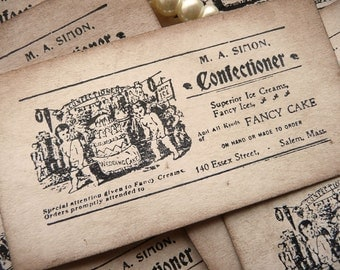 Wedding Cake Ephemera Scrapbooking Cigarette Cards - Confectionery Labels - Set of 8 Vintage Style, Whimsical Tags