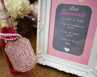 Love Potion 9 Gift Tags - Vintage Inspired - Magenta favor tags, Made in the UK  SET OF 5