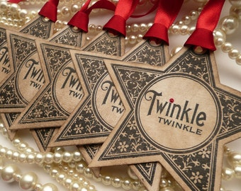 Christmas Tags, Christmas Star Tags, Party Favor Tags, Wedding Favor Tags, Twinkle Star, Christmas Decor, Xmas Gift Wrap, Tree Decorations
