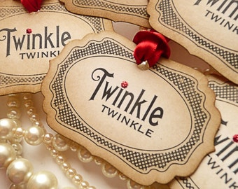 Red Christmas Vintage Style Tags - Set of 20  - Twinkle Twinkle with Bright Red Ribbon