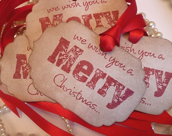 We wish you a Merry Christmas Tags Large Vintage Style - Set of 4  - with Bright Red Ribbon