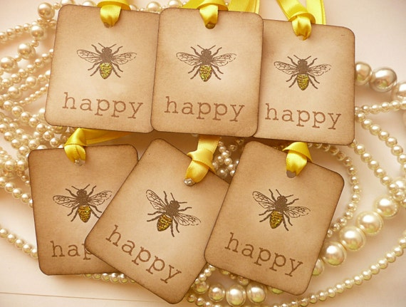 BEE HAPPY TAGS, Bee Wedding Favors, Wedding Favor Tags, Gift Tags, Scrapbooking Tags, Honey Bees, Bee Party Favors