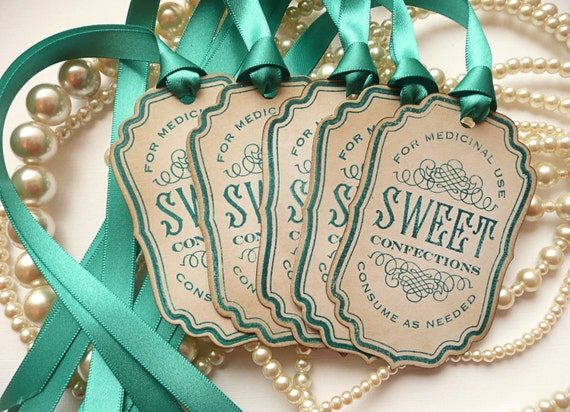 Candy Labels, Sweet Confections, Teal Wedding Idea, Candy Buffet, Wedding Favor Tags, Gift Tags, Wedding Decorations - CODE S2
