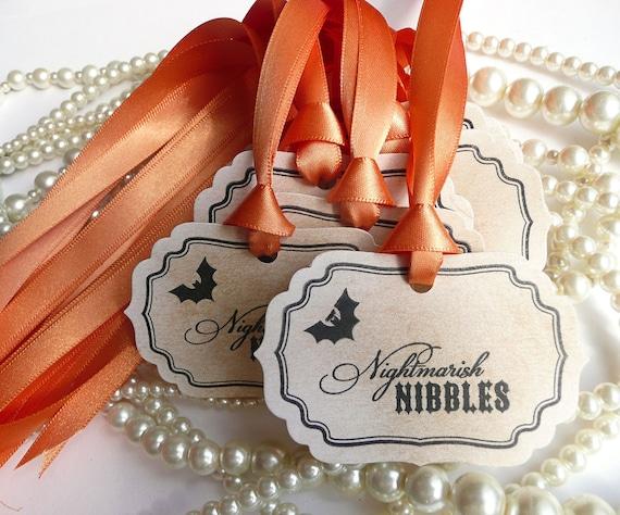 Halloween Tags - Nightmarish Nibbles  - Set of 12 party favor tags, food labels  - Vintage - pumpkin orange ribbon