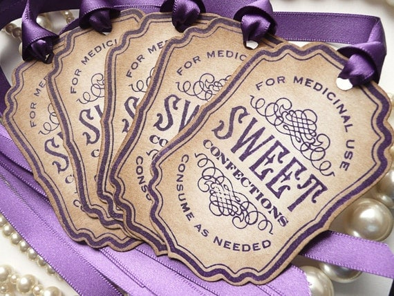 Candy Buffet Tags - Sweet Confections Label Vintage Inspired - Purple Ribbon - Jar Decoration, Wedding Favor Tags, SET of 5 - CODE S3