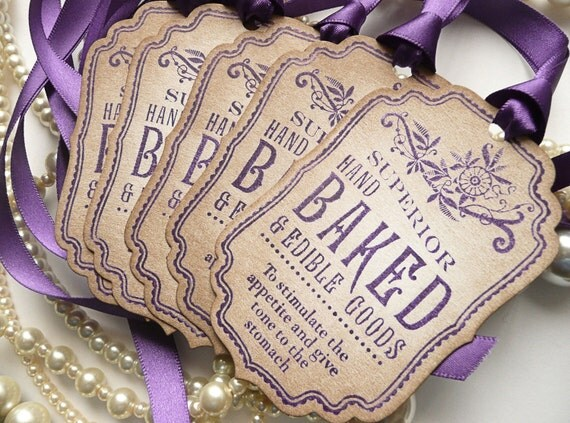 Baked Goods Decoration Tags - Purple Vintage Style - Ideal Wedding Favor Tags, Cookies, Cupcakes, Buffet Labels CODE B1