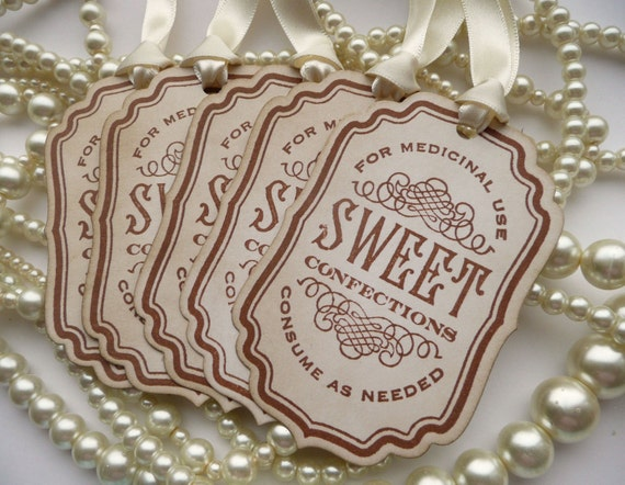 Candy Sweet Labels - Vintage Inspired with Cream Satin Ribbon - Buffet Table Decoration, Wedding Favors, Party Tags SET of 5 CODE S4