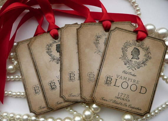 Vampire Blood Gothic Wedding Tags - Red Ribbon Set of 10 - Large Potion Bottle Labels, Wine, Weddings