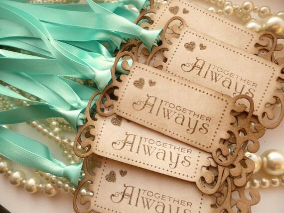 Together Always Wedding Favor Tags - Vintage Look - Wedding SET of 15 - Custom Listing