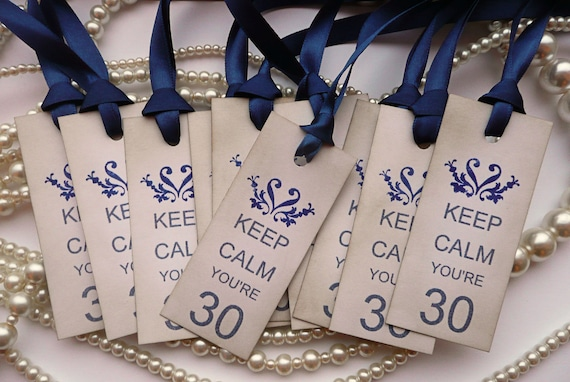 Keep Calm You're 30 - Set of 10 - 30th Birthday Vintage Style Tags with Navy Blue Ribbon