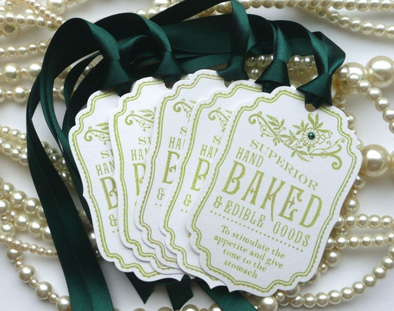 Superior Hand Baked and Edible Goods, Food Labels, Green Labels, Baked Goods Labels, Wedding Favors,Cake Gift Tags, SET of 5 CODE B2
