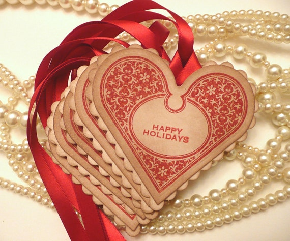 Christmas Hearts Happy Holidays Gift Tags - Pure Luxury in a Vintage Style Tag - Set of 5 - Bright Red Ribbon