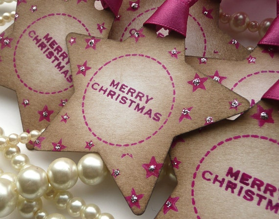 Christmas Star Tags - Pink with Silver Glitter Vintage Style Tag - Set of 6