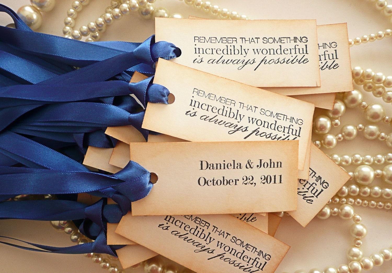 Wedding Favor Tag Wording Examples : 20 Cobalt Blue Wedding Favor Decoration Tags Vintage Style