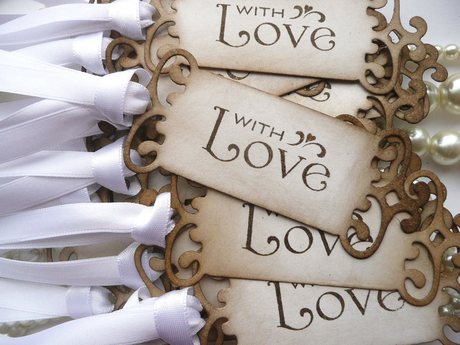 zoomWedding Favor Tags With Love Set of 75 Vintage Look Choice. Antique Wedding Favors. Home Design Ideas