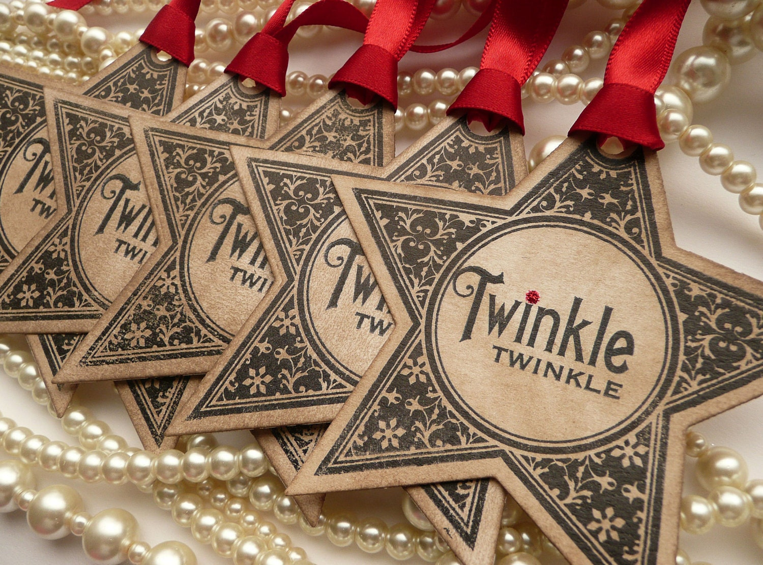 Christmas Tags: Christmas Tags Christmas Star Tags Party Favor Tags Wedding
