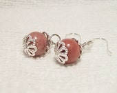 Stylish and Elegant 925 Sterling Silver Genuine Rhodonite Pierced Earrings Free Shipping