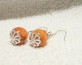 Stylish and Elegant 925 Sterling Silver Genuine Red Sponge Coral Pierced Earrings Free Shipping