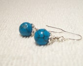 Stylish and Beautiful Sterling Silver Turquoise Earrings   Free Shipping
