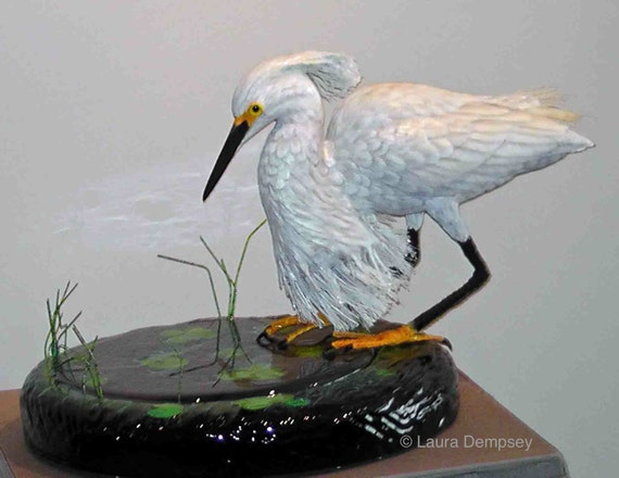 Birds in Art  hand carved  wood carving   handmade Reflections on Black Water - Snowy Egret
