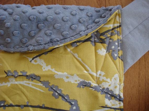 Mei Tai Baby Carrier/Sling- Yellow Sparrow, gray minky